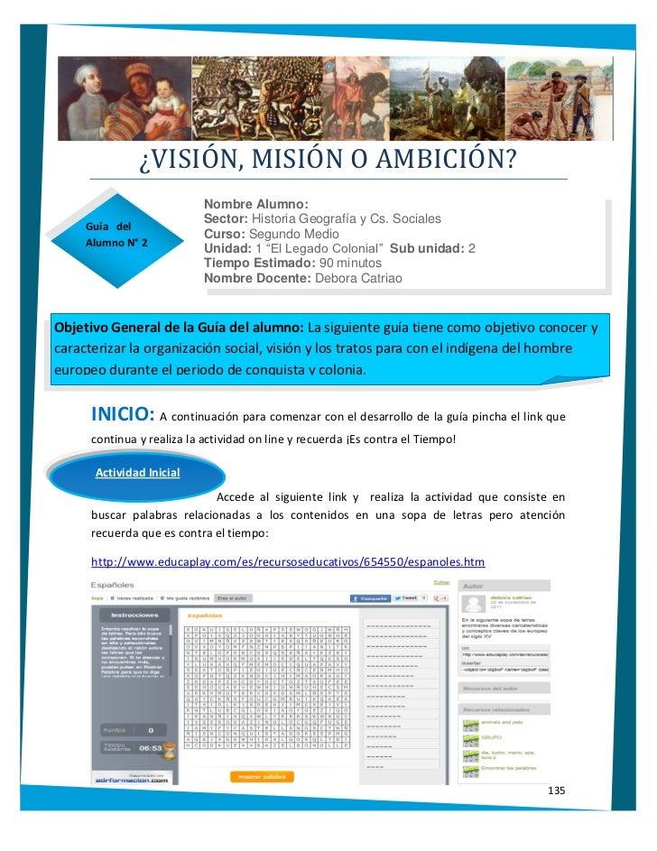 ¿VISIÓN, MISIÓN O AMBICIÓN?                            Nombre Alumno:                            Sector: Historia Geografí...