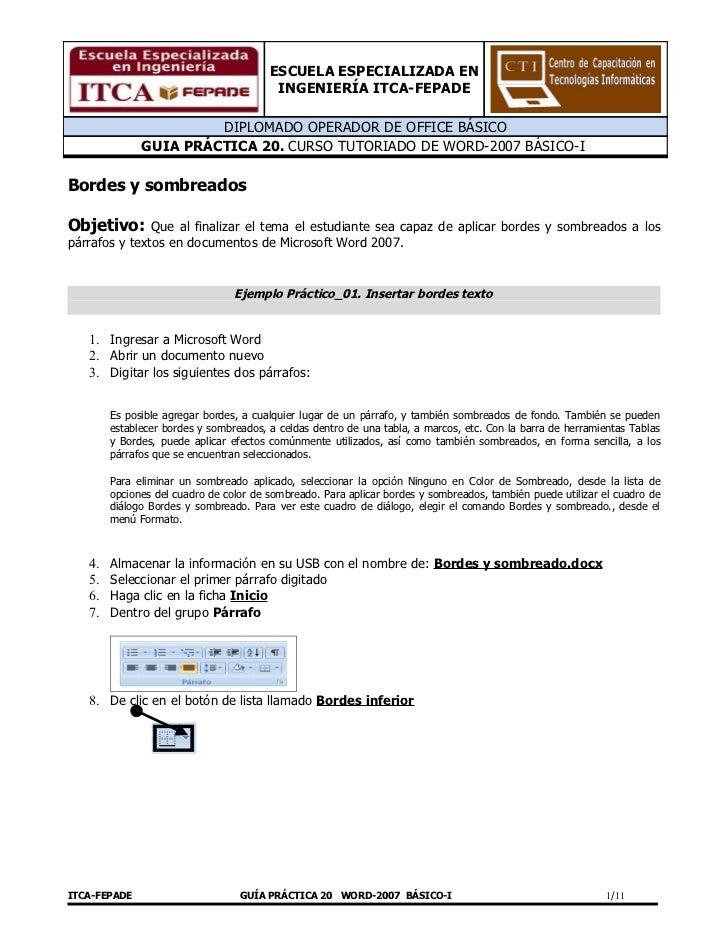 Guía 20  bordes y sombreados word 2007 bco i