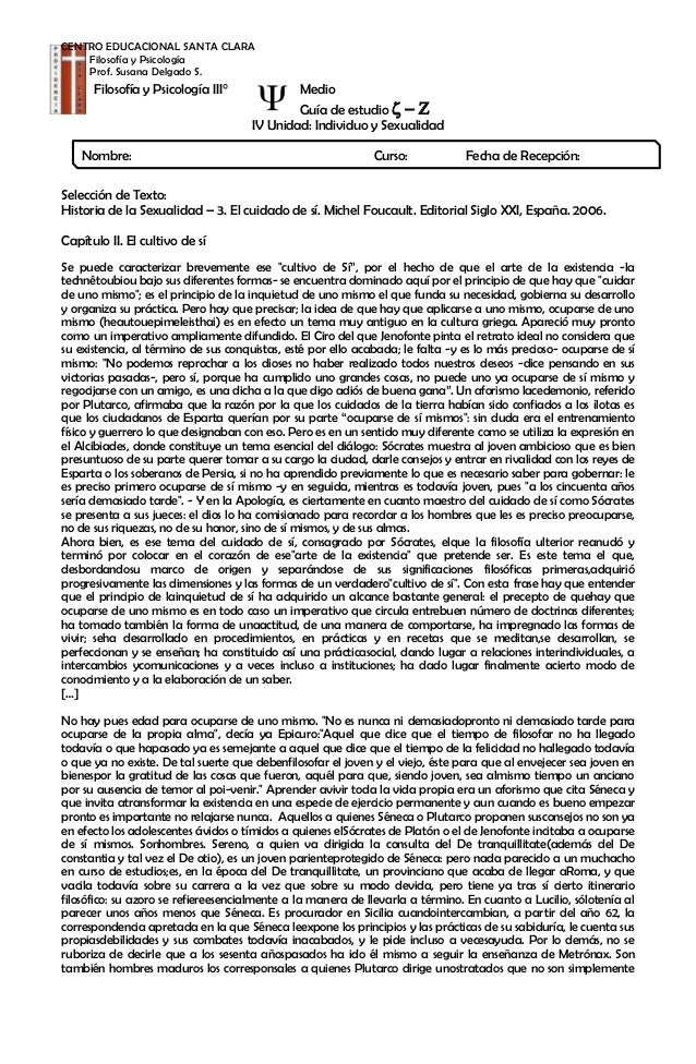 Guía 6 - Individuo y Sexualidad - Foucault