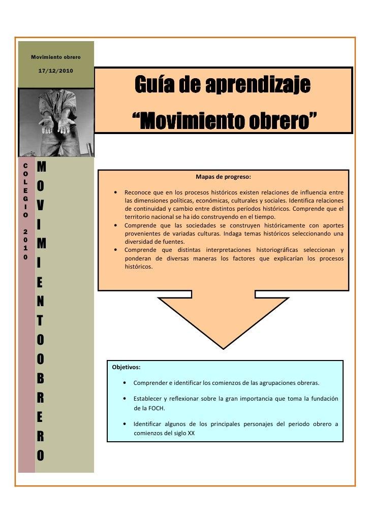 "Movimiento obrero      17/12/2010                                Guía de aprendizaje                                ""Movim..."