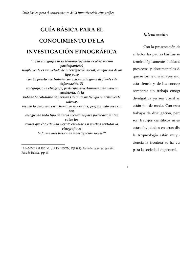 Guía básica para el conocimiento de la investigación etnográfica                                         Fco. Javier San V...