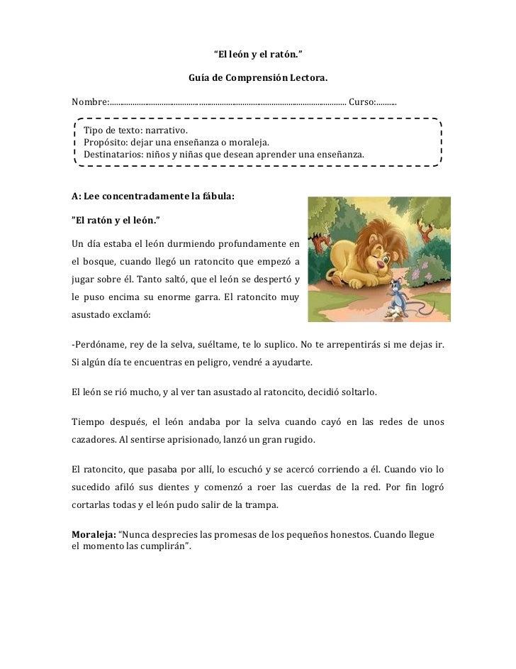 """""""El león y el ratón.""""                                                 Guía de Comprensión Lectora.Nombre:...................."""