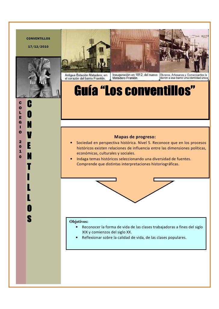 """CONVENTILLOS    17/12/2010                     Guía """"Los conventillos""""CO   CLE   OGI   NO    V                            ..."""
