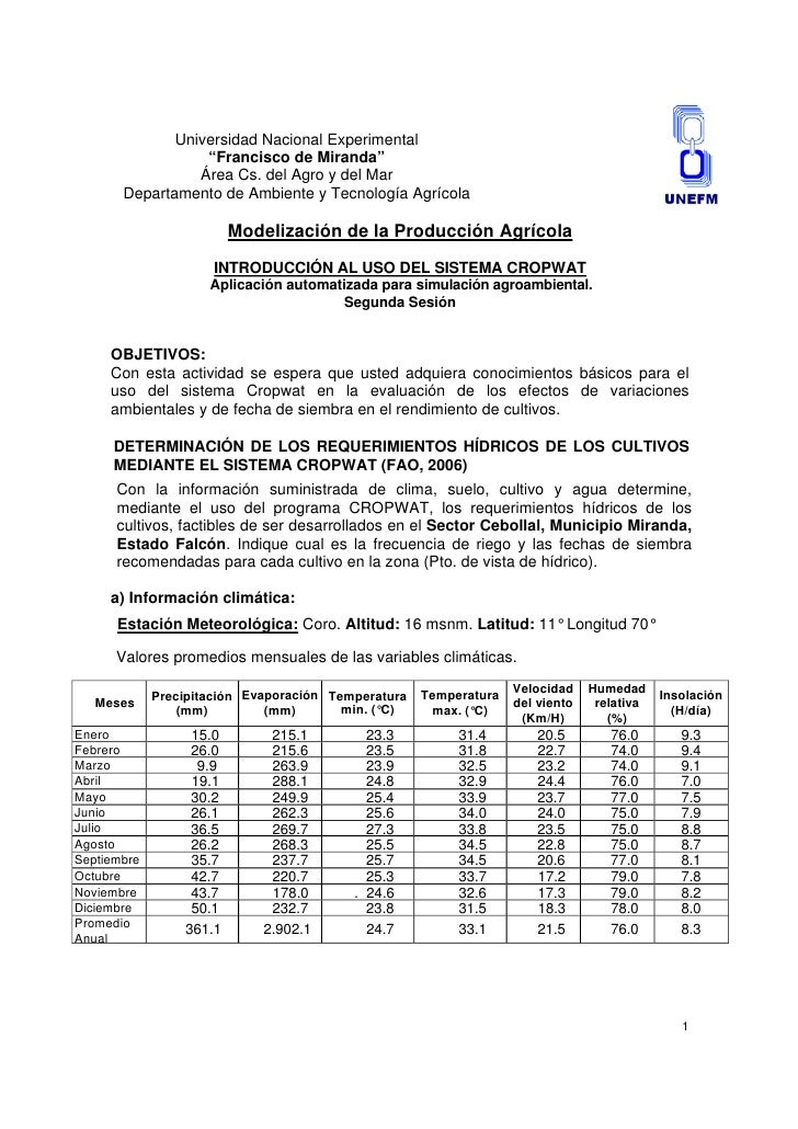 """Universidad Nacional Experimental                   """"Francisco de Miranda""""                  Área Cs. del Agro y del Mar   ..."""