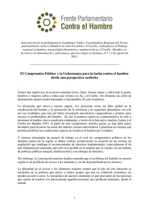 1 Intervención de la parlamentaria Guadalupe Valdez, Coordinadora Regional del Frente parlamentario contra el Hambre en Am...