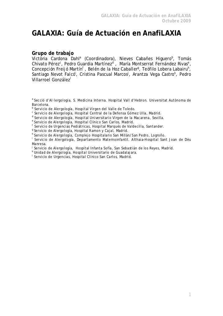 GALAXIA: Guía de Actuación en AnafiLAXIA                                                                   Octubre 2009GAL...