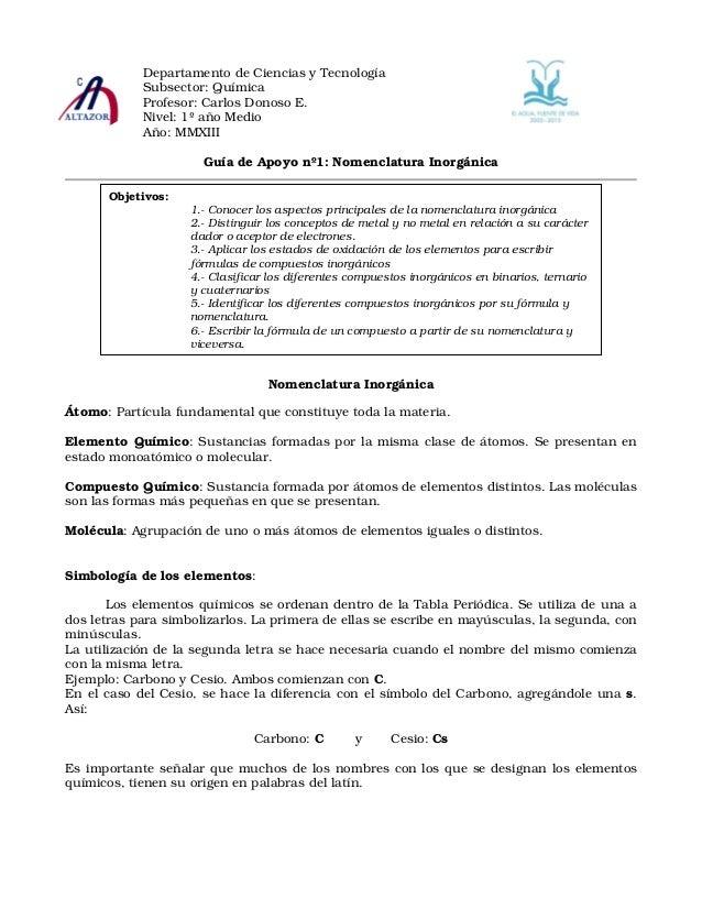Departamento de Ciencias y Tecnología            Subsector: Química            Profesor: Carlos Donoso E.            Nivel...