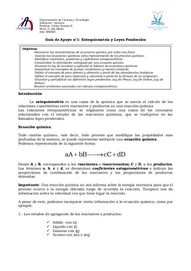 Departamento de Ciencias y Tecnología              Subsector: Química              Profesor: Carlos Donoso E.             ...