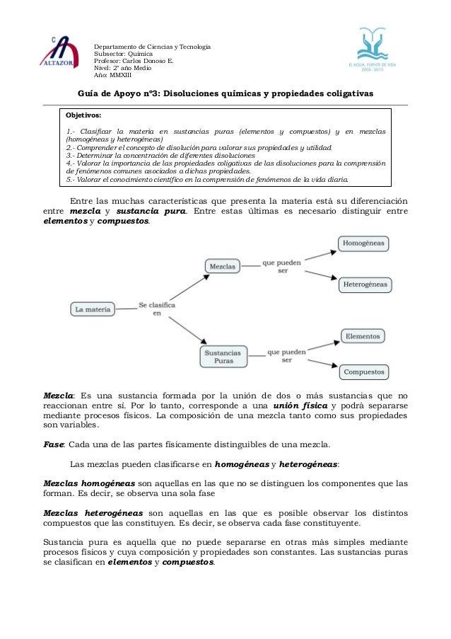 Departamento de Ciencias y Tecnología             Subsector: Química             Profesor: Carlos Donoso E.             Ni...