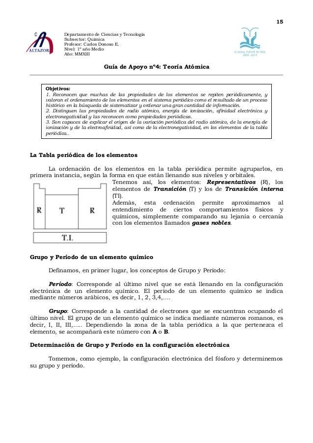 15             Departamento de Ciencias y Tecnología             Subsector: Química             Profesor: Carlos Donoso E....