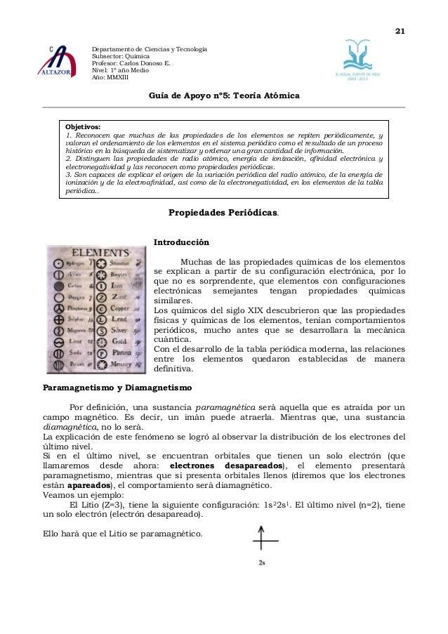 21             Departamento de Ciencias y Tecnología             Subsector: Química             Profesor: Carlos Donoso E....