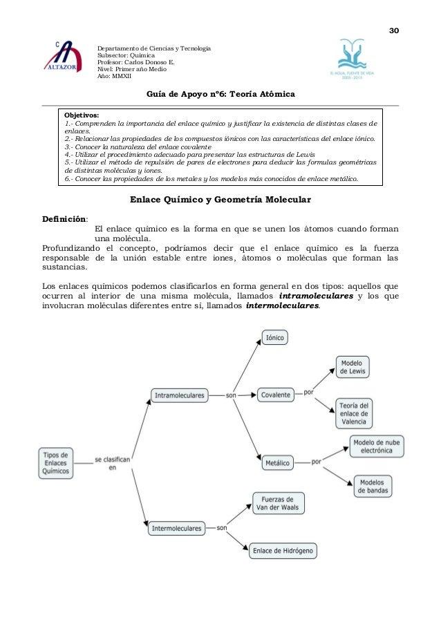 30               Departamento de Ciencias y Tecnología               Subsector: Química               Profesor: Carlos Don...