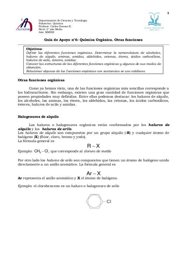 Guía de apoyo n°6 q2 m 2013 química orgánica otras funciones orgánicas