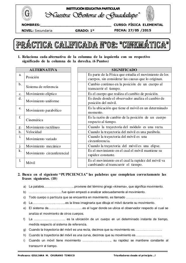 Profesora: GIULIANA M. CHURANO TINOCO Triunfadores desde el principio…! CURSO: FÍSICA ELEMENTAL NIVEL: Secundaria GRADO: 1...