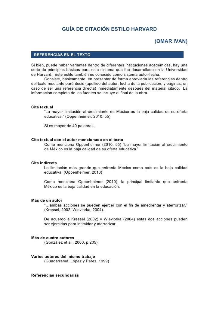 GUÍA DE CITACIÓN ESTILO HARVARD                                                                      (OMAR IVAN) REFERENCI...