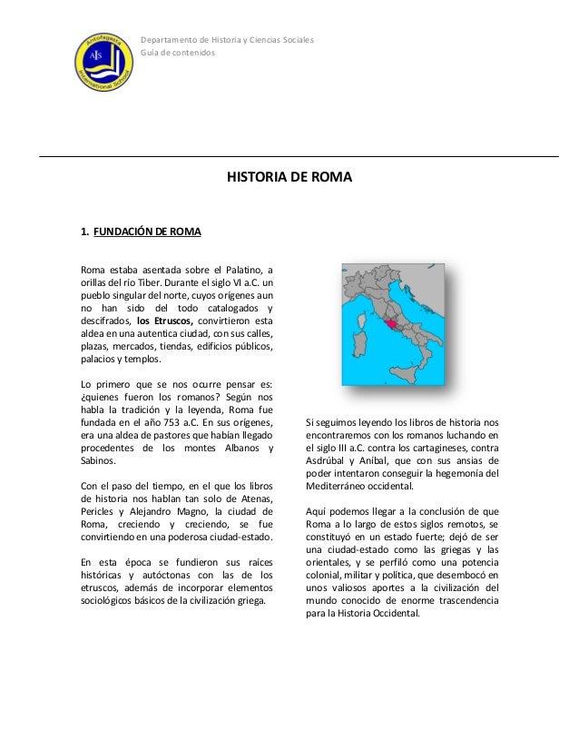 Guía de contenidos roma