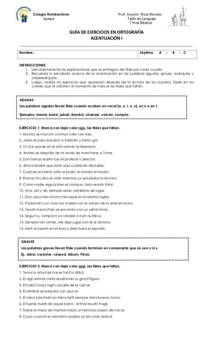 Guía de ejercicios en ortografía    la acentuación i