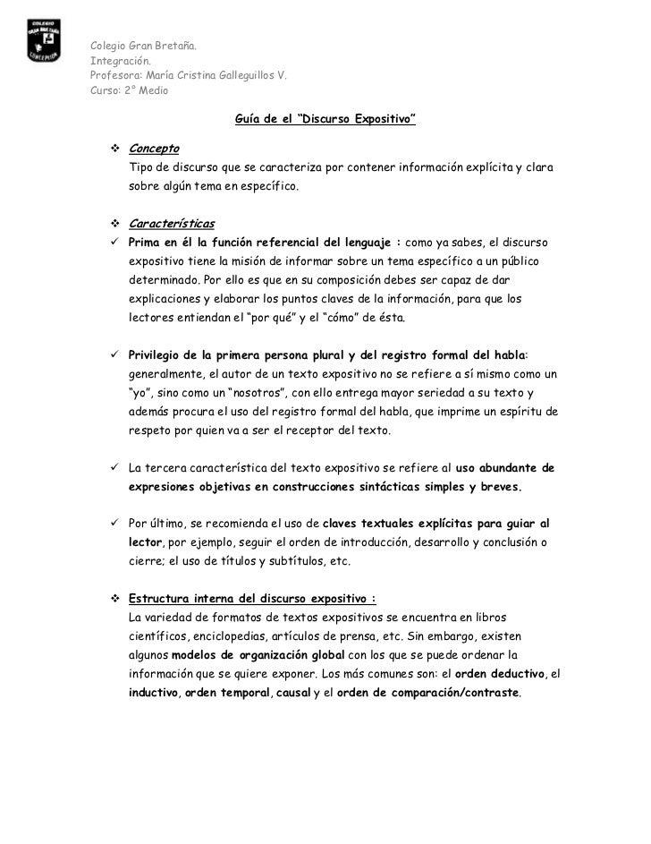 """Curso: 2° Medio<br />Guía de el """"Discurso Expositivo""""<br />Concepto<br />Tipo de discurso que se caracteriza por contener ..."""