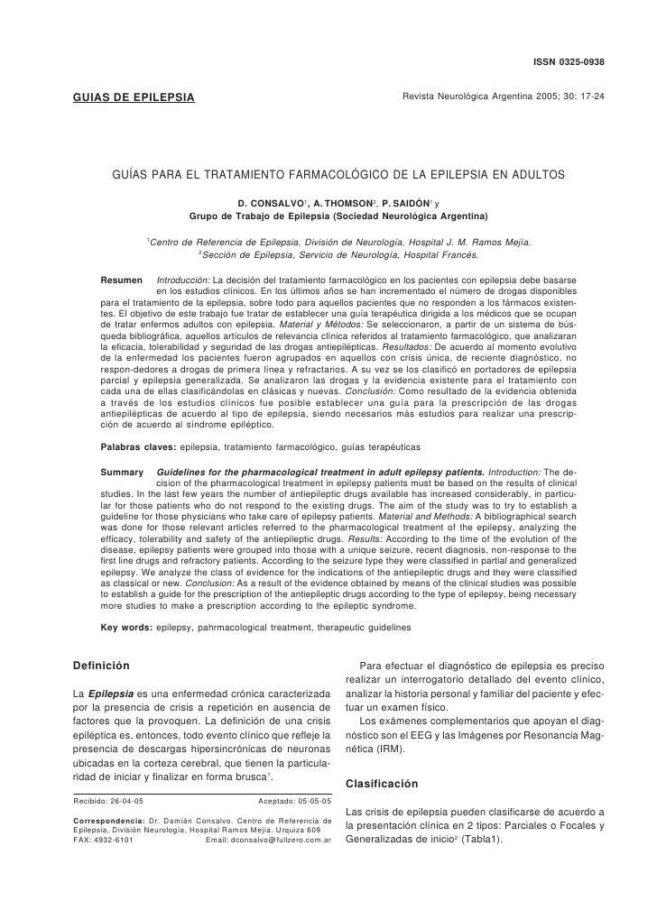 GUIAS PARA EL TRATAMIENTO FARMACOLOGICO DE LA EPILEPSIA EN ADULTOS                                                 ISSN 03...