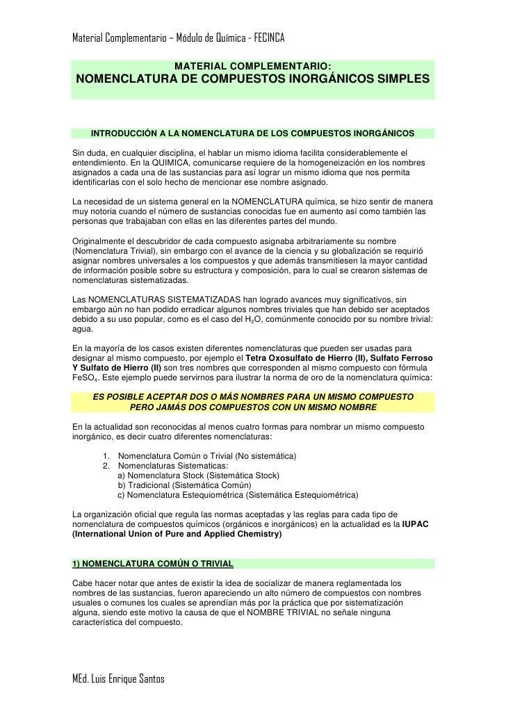 Material Complementario – Módulo de Química - FECINCA                             MATERIAL COMPLEMENTARIO: NOMENCLATURA DE...