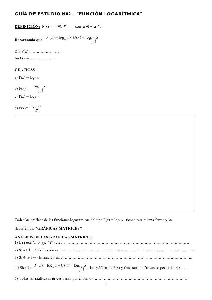 GUÍA DE ESTUDIO Nº2 : quot;FUNCIÓN LOGARÍTMICAquot;                                                       con a>0 ∧ a ≠ l ...