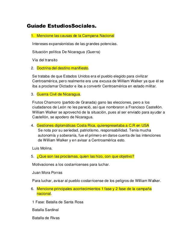 Guíade EstudiosSociales. 1. Mencione las causas de la Campana Nacional Intereses expansionistas de las grandes potencias. ...