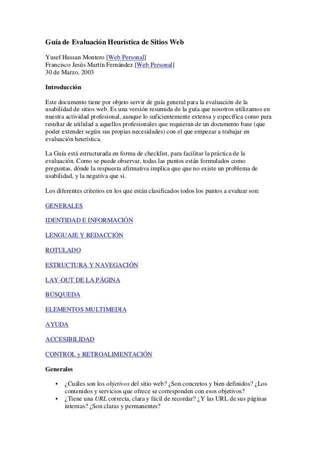 Guía de Evaluación Heurística de Sitios Web Yusef Hassan Montero [Web Personal] Francisco Jesús Martín Fernández [Web Pers...