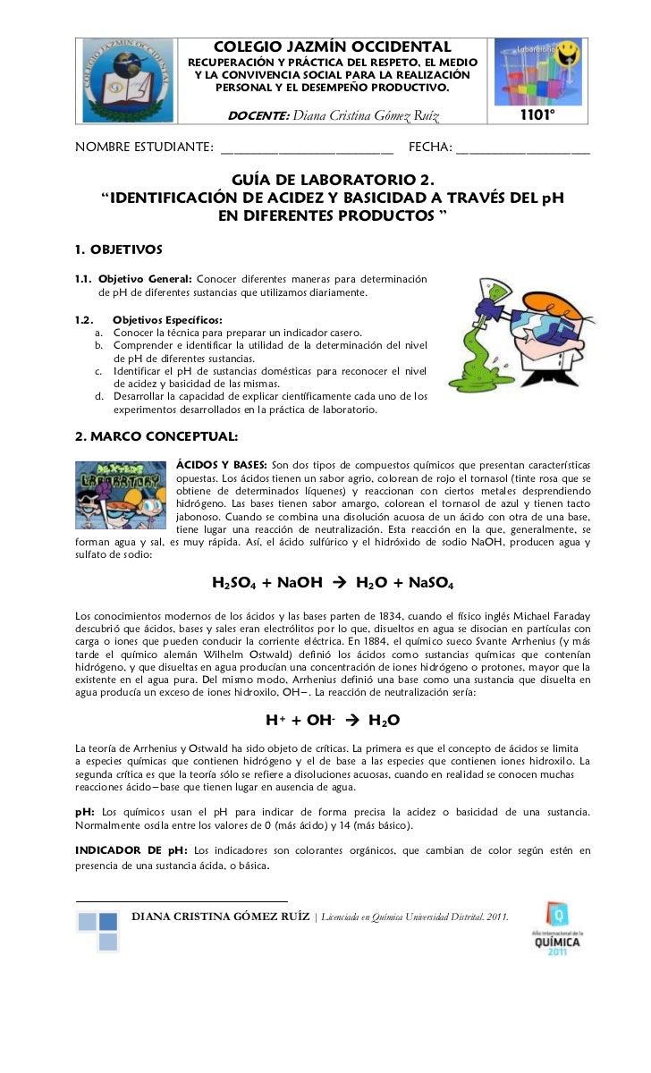 Guía de laboratorio 2. identificación de acidez y basicidad y p h