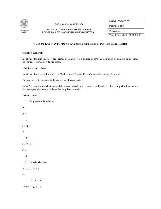 FORMACIÓN ACADÉMICA FACULTAD INGENIERIA DE PROCESOS PROGRAMA DE INGENIERIA AGROINDUSTRIAL Código: FOA-FR-07 Página: 1 de 7...