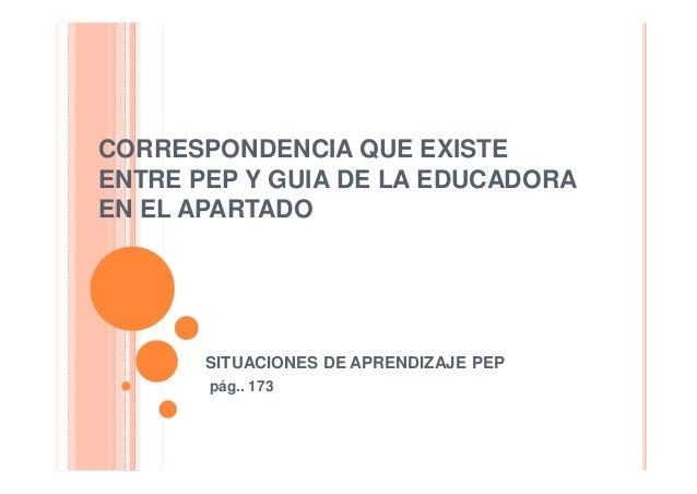 CORRESPONDENCIA QUE EXISTEENTRE PEP Y GUIA DE LA EDUCADORAEN EL APARTADO       SITUACIONES DE APRENDIZAJE PEP       pág.. ...