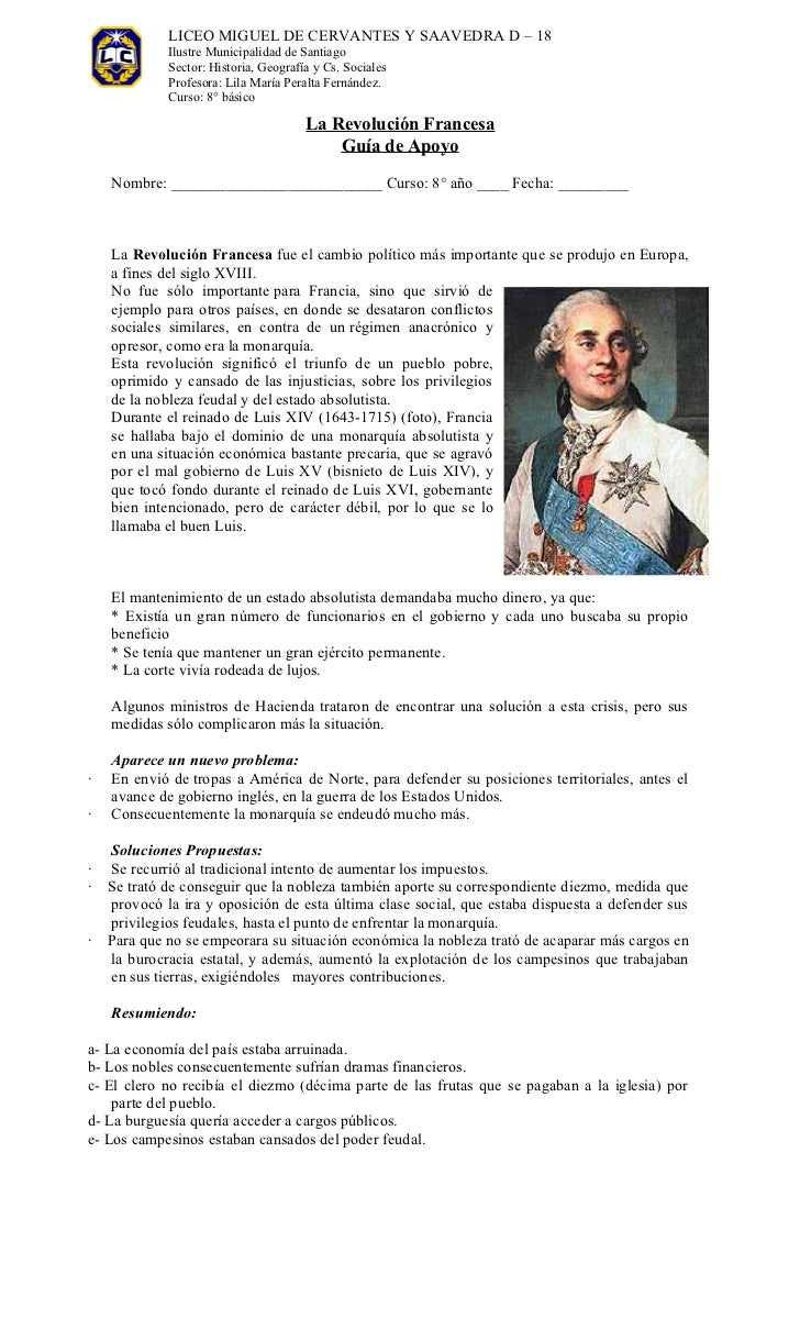 """Guía """"Revolución Francesa"""""""