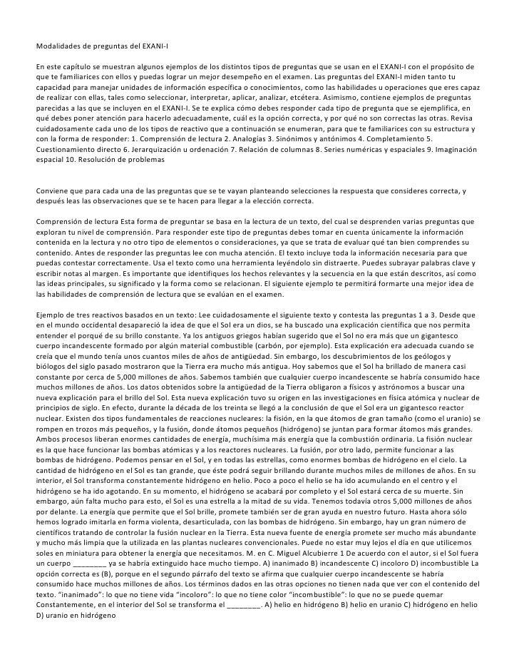 Modalidades de preguntas del EXANI-IEn este capítulo se muestran algunos ejemplos de los distintos tipos de preguntas que ...