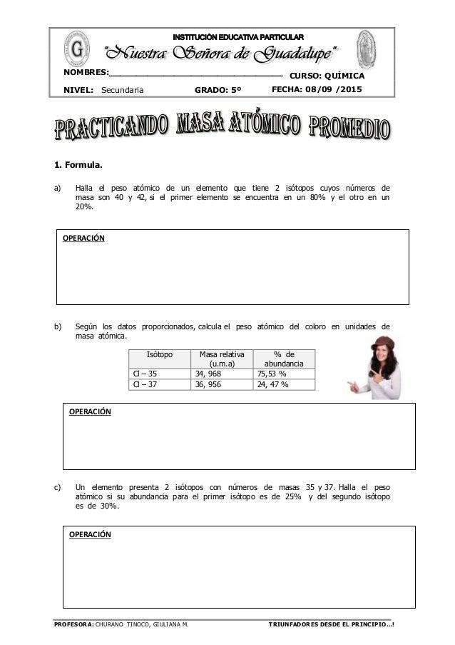 PROFESORA: CHURANO TINOCO, GIULIANA M. TRIUNFADORES DESDE EL PRINCIPIO…! CURSO: QUÍMICA NIVEL: Secundaria GRADO: 5º FECHA:...