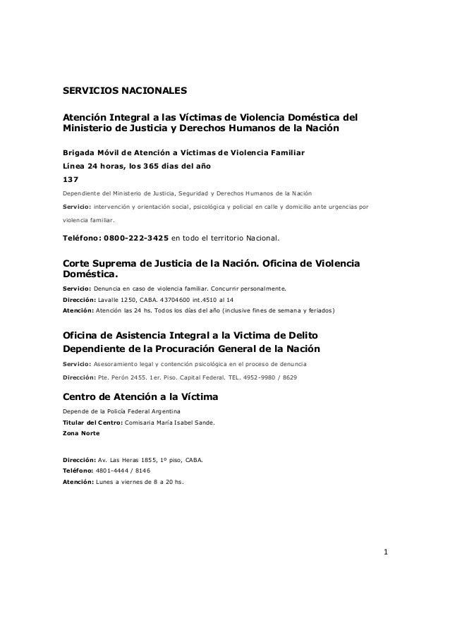 SERVICIOS NACIONALESAtención Integral a las Víctimas de Violencia Doméstica delMinisterio de Justicia y Derechos Humanos d...