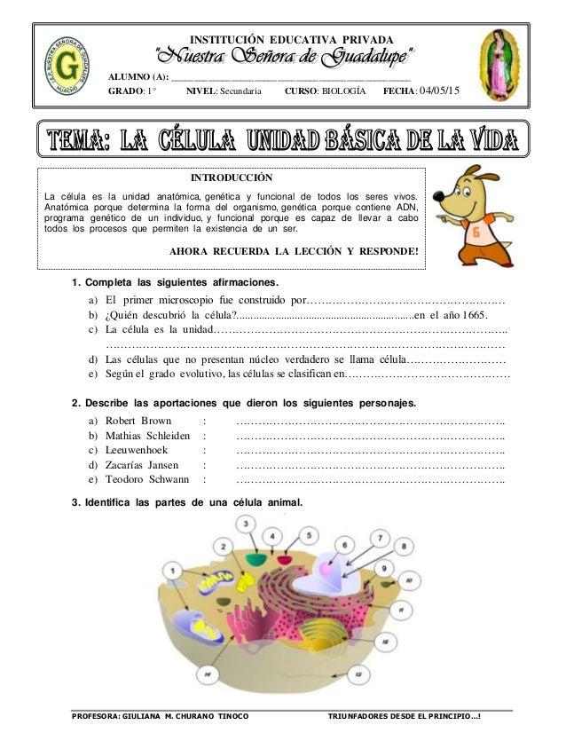 INSTITUCIÓN EDUCATIVA PRIVADA PROFESORA: GIULIANA M. CHURANO TINOCO TRIUNFADORES DESDE EL PRINCIPIO…! ALUMNO (A): ________...