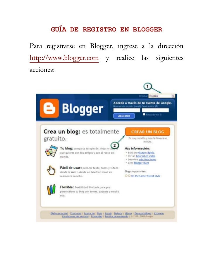 Guía de registro en blogger