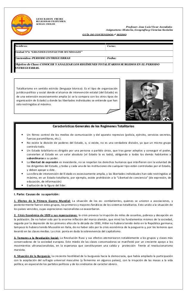 LICEO RAMON FREIRE RELIGIOSAS FILIPENSES. ACHAO- CHILOE Profesor: Jose Luis Vivar Avendaño Asignatura: Historia, Geografía...