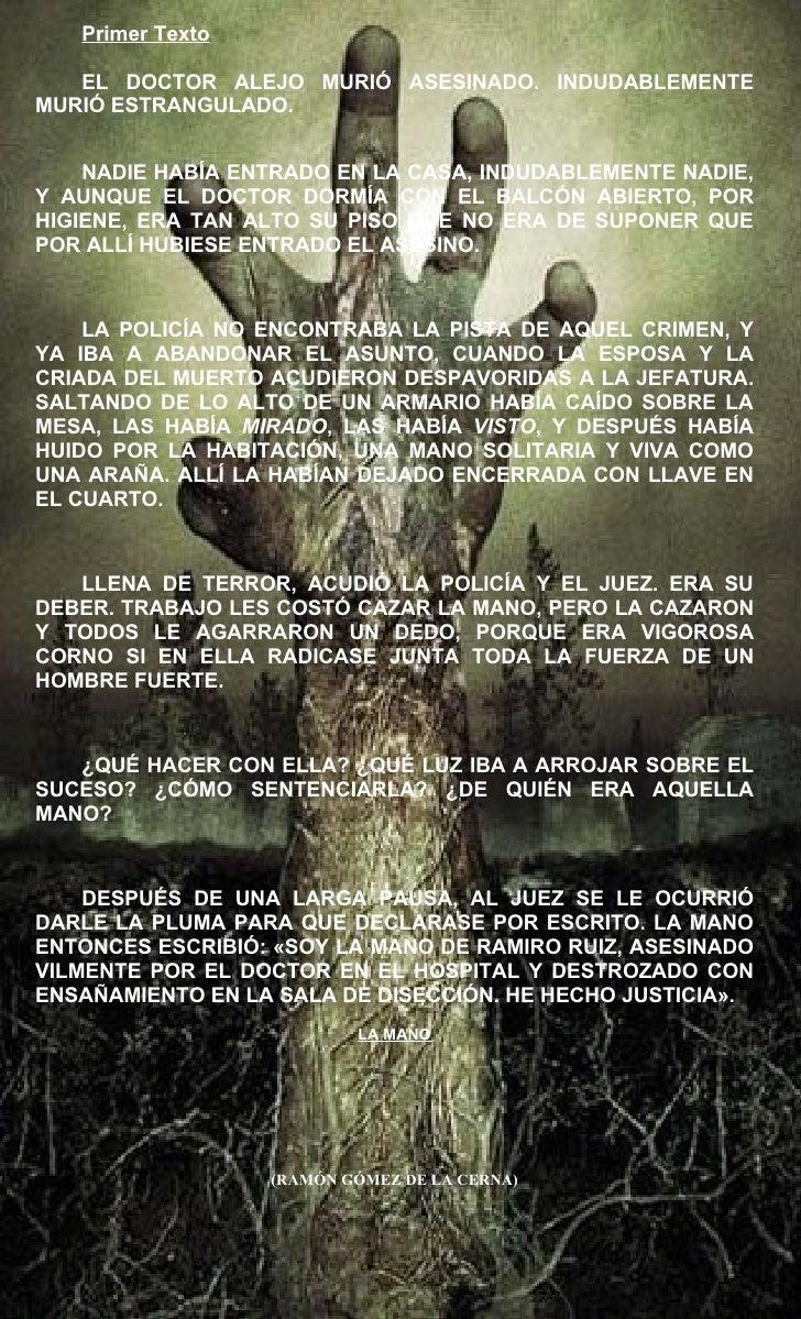 Primer Texto   EL DOCTOR ALEJO MURIÓ ASESINADO. INDUDABLEMENTEMURIÓ ESTRANGULADO.    NADIE HABÍA ENTRADO EN LA CASA, INDUD...