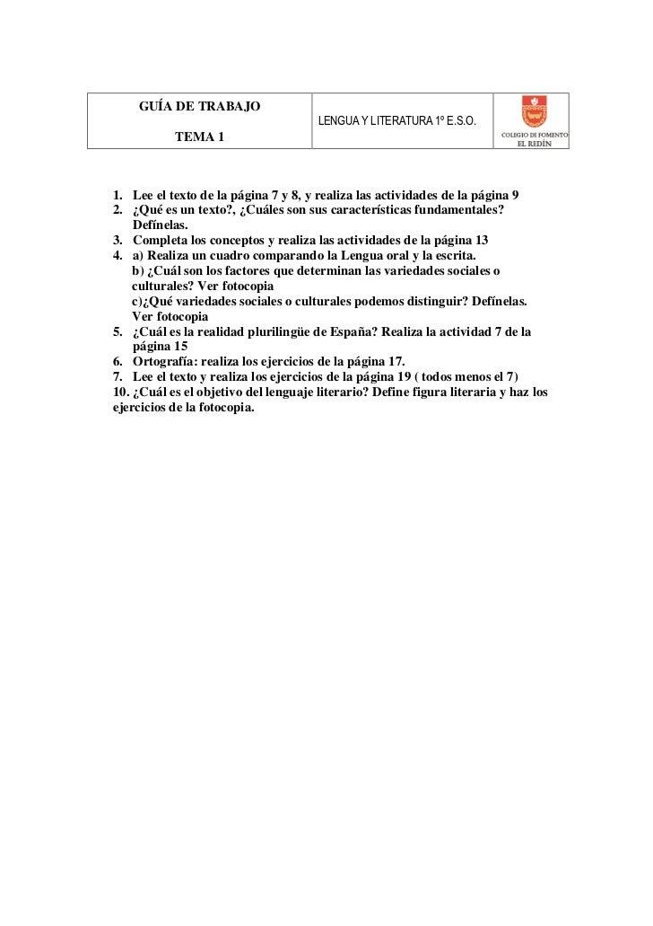 GUÍA DE TRABAJO                                      LENGUA Y LITERATURA 1º E.S.O.           TEMA 11. Lee el texto de la p...