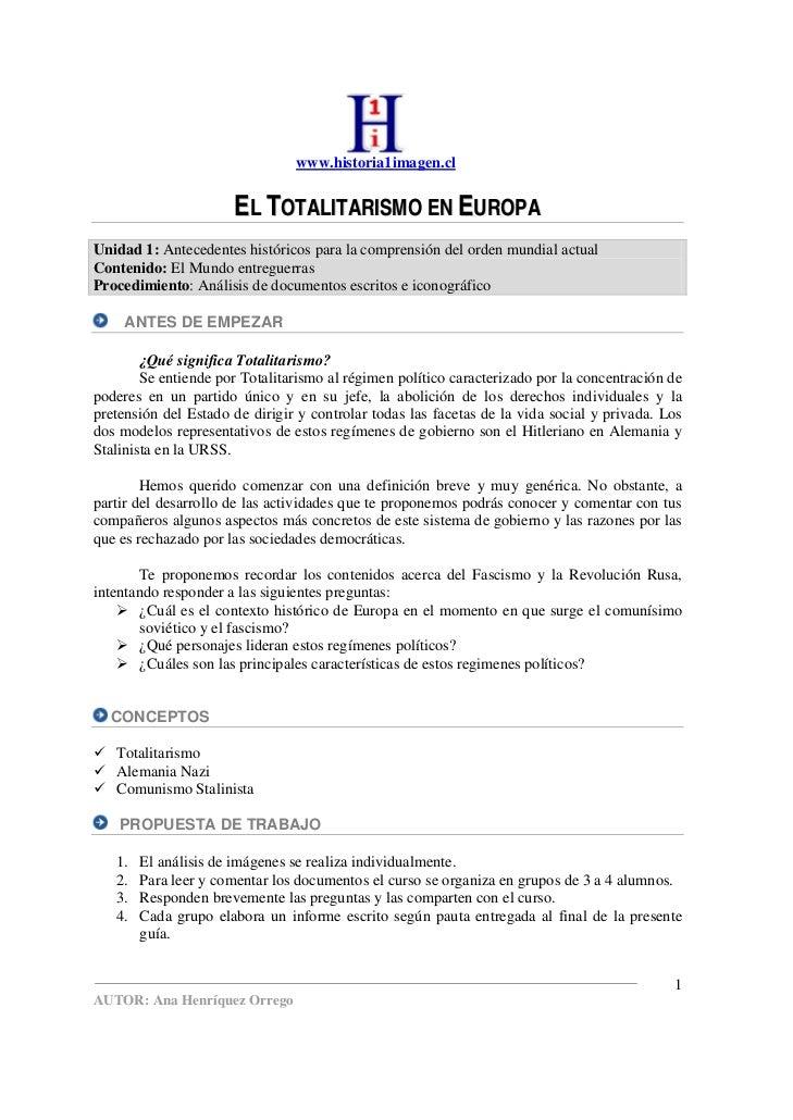 www.historia1imagen.cl                         EL TOTALITARISMO EN EUROPA Unidad 1: Antecedentes históricos para la compre...