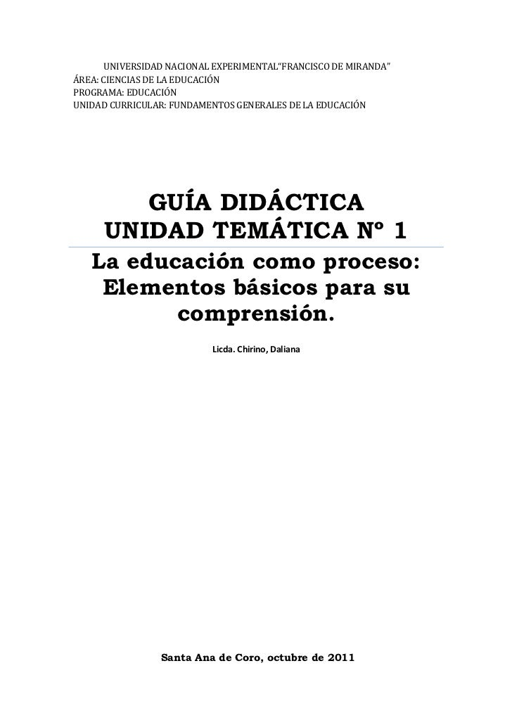 (Guía didáctica  unidad temática nº 1)