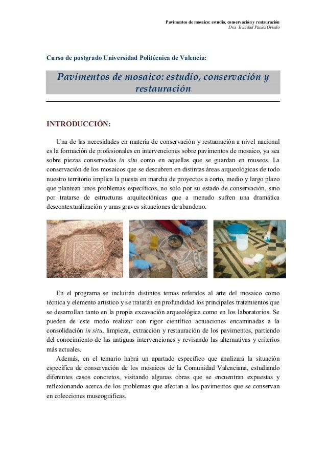 Pavimentos de mosaico: estudio, conservación y restauración                                                               ...