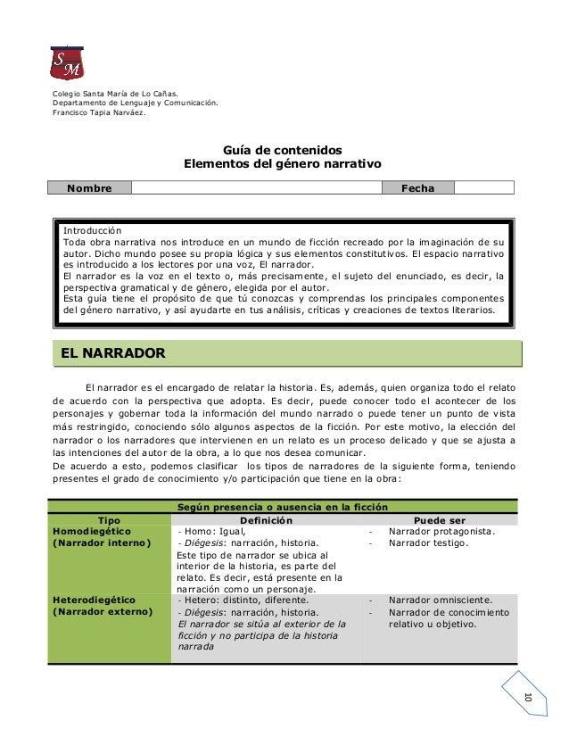Colegio Santa María de Lo Cañas.Departamento de Lenguaje y Comunicación.Francisco Tapia Narváez.                          ...