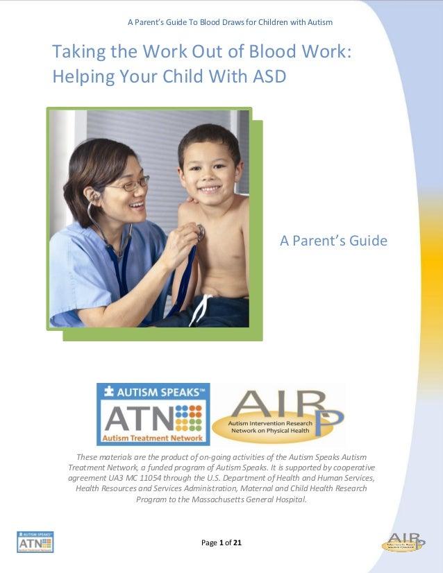Guía extracción de sangre para padres de niños con Autismo