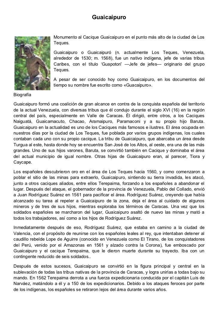 Guaicaipuro                    Monumento al Cacique Guaicaipuro en el punto más alto de la ciudad de Los                  ...