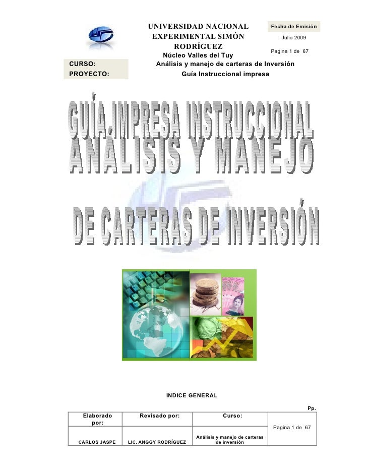 UNIVERSIDAD NACIONAL                              Fecha de Emisión                         EXPERIMENTAL SIMÓN             ...