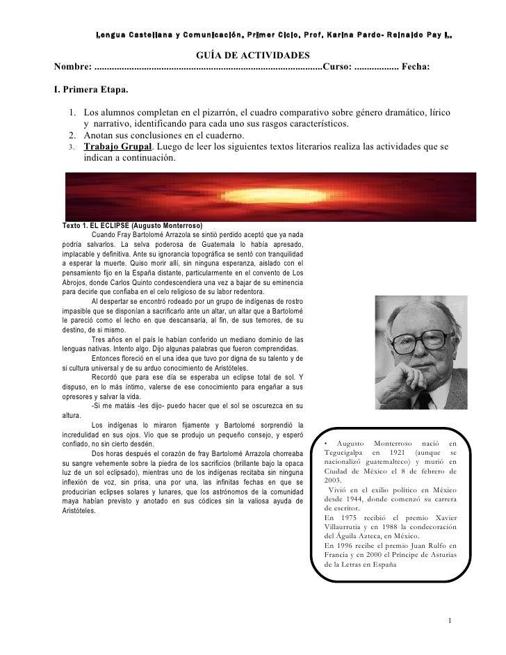Lengua Castellana y Comunicación. Primer Ciclo. Prof. Karina Pardo- Reinaldo Pay L.                                       ...