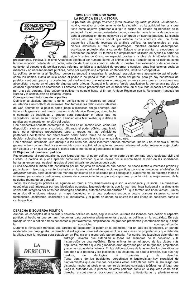 GIMNASIO DOMINGO SAVIO                                                 LA POLÍTICA EN LA HISTORIA                         ...