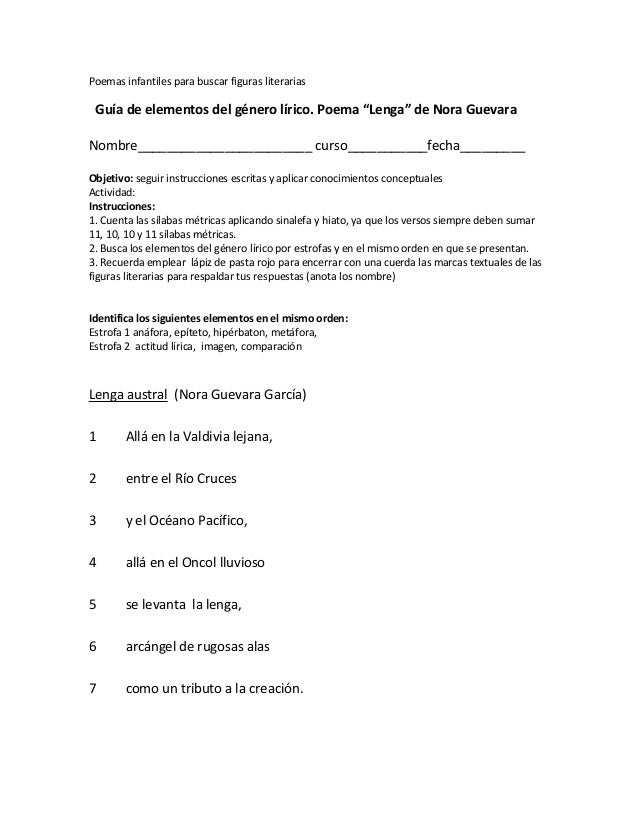 """Poemas infantiles para buscar figuras literarias Guía de elementos del género lírico. Poema """"Lenga"""" de Nora Guevara Nombre..."""