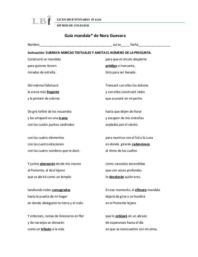 LICEO BICENTENARIO ITALIA SIP RED DE COLEGIOS Guía mandala* de Nora Guevara Nombre________________________________________...